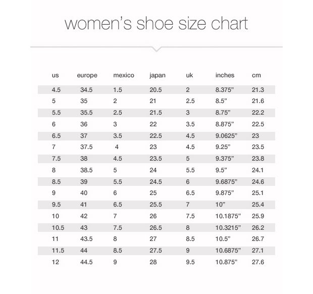 nike infant shoe size guide