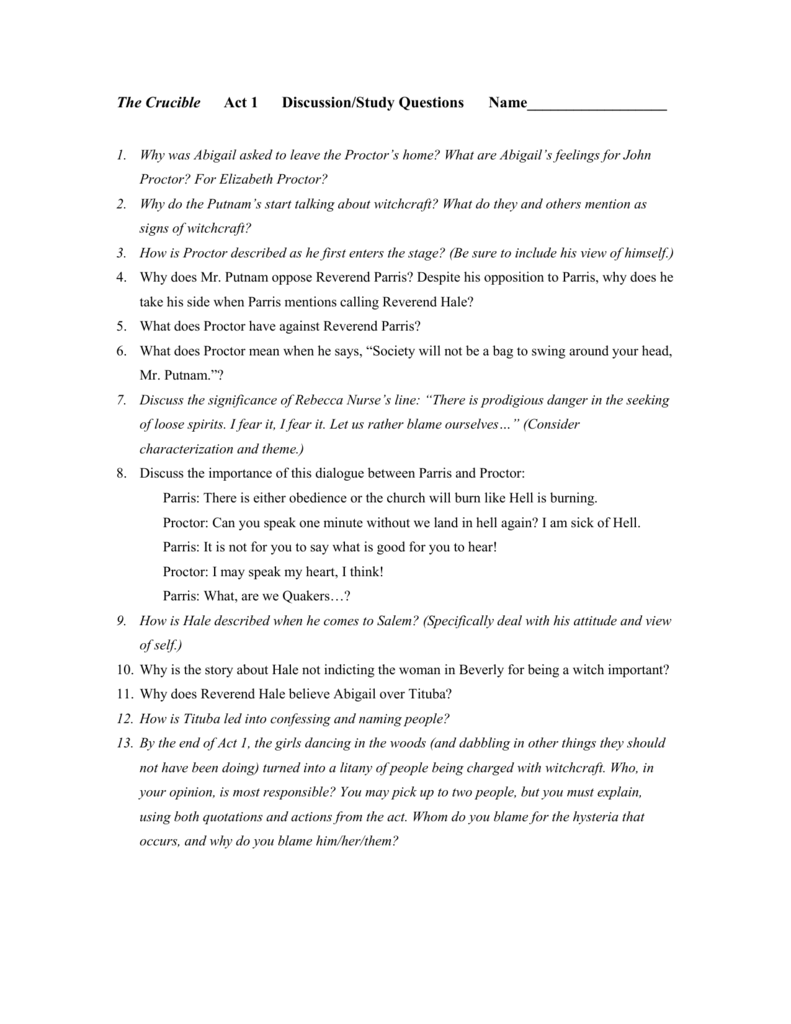 the crucible study guide with answers act 2