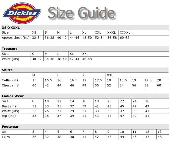 dickies boiler suit size guide